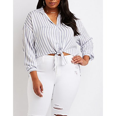 Plus Size Striped Collared Hi Low Top