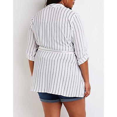 Plus Size Striped Tie Front Kimono