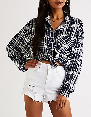 Plaid Collared Hi Low Top