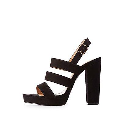 Faux Suede Ladder Strap Sandals