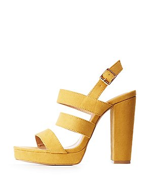 Faux Suede Ladder Strap Sandals