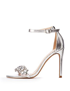 Crystal Ankle Strap Pumps