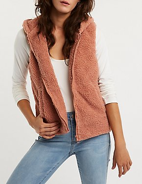 Faux Shearling Hooded Vest