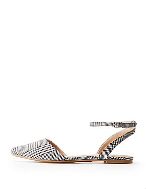 Plaid Pointed Toe Slingback Flat Sandals