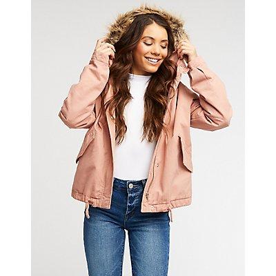 Faux Fur Hooded Anorak Jacket