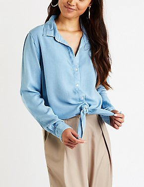 Chambray Button Up Tie Front Top