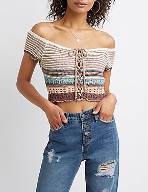 Striped Macrame Crop Top