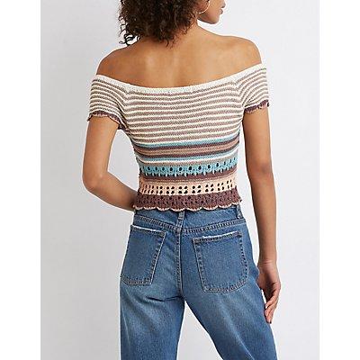 Striped Macrame Crop Top