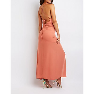 Lace Open Back Maxi Dress