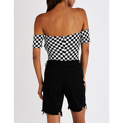 Checkered Off The Shoulder Bodysuit