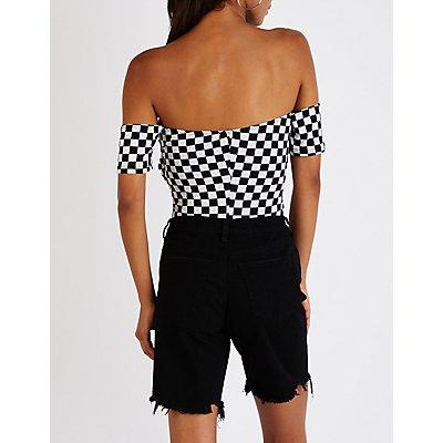 Checkered Off The Shoulder Bodysuit