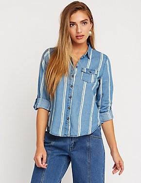 Striped Chambray Button Up Top
