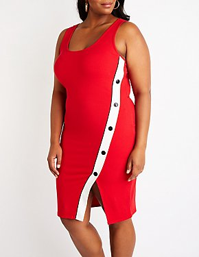 Plus Size Button Up Bodycon Dress