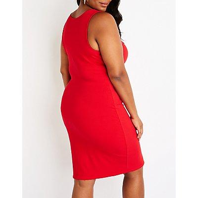 Plus Size Button Up Bodycon Dress