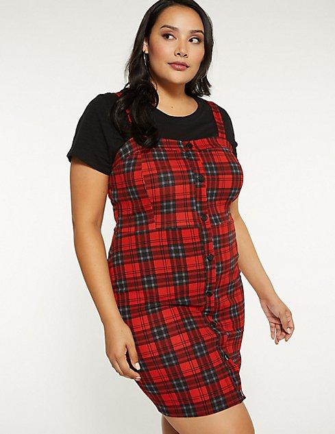 Plus Size Plaid Button Up Dress Charlotte Russe