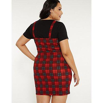 Plus Size Plaid Button Up Dress