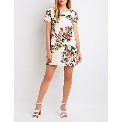 Floral Caged Back Shift Dress