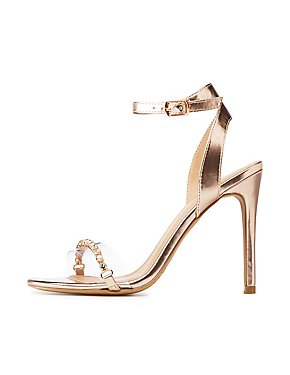 Metallic Ankle Strap Stiletto Sandals