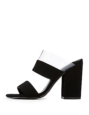 Clear Strap Block Heel Sandals