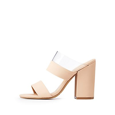 Clear Strap Block Heel Sandals