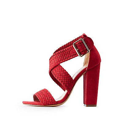 Braided Crisscross Heel Sandals