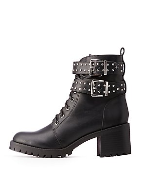 Studded Buckle Combat Boots