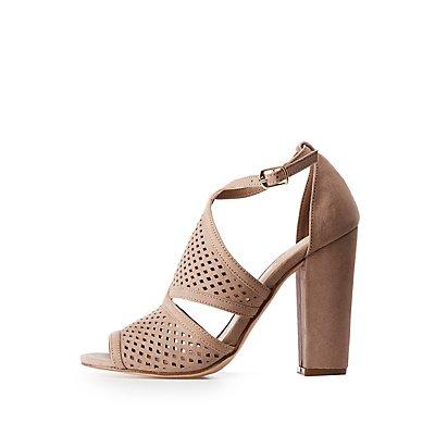 Laser Cut Peep Toe Sandals