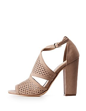 Laser Cut Peep Toe Sandals