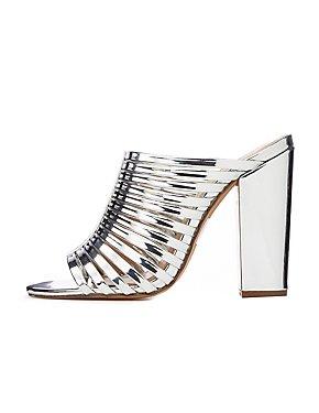 Metallic Strappy Mule Sandals