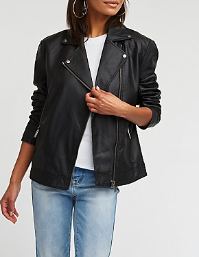 Faux Leather Boyfriend Moto Jacket