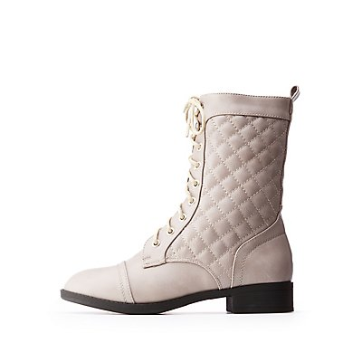Quilted Combat Boots