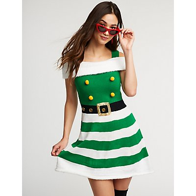 Elf Cold Shoulder Skater Dress