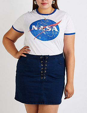 Plus Size NASA Ringer Tee