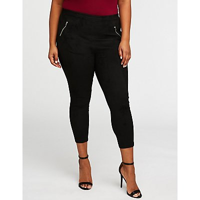 Plus Size Faux Suede Zipper Leggings