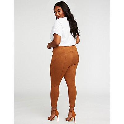 Plus Size Faux Suede Zipper Leggings