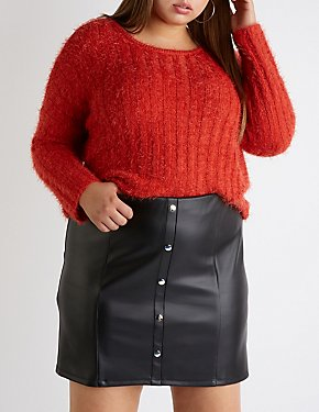 Plus Size Button Up A Line Skirt