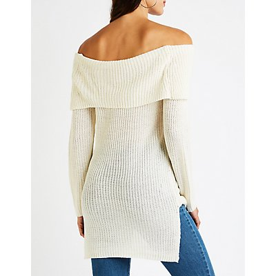 Off The Shoulder Foldover Sweater