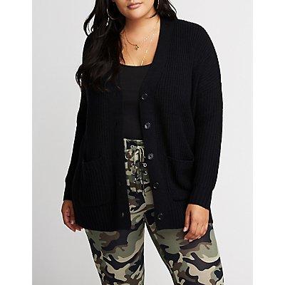 Plus Size Longline Button Up Cardigan