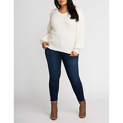 Plus Size Back Tie Pullover Sweater