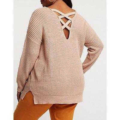 Plus Size Caged Back V Neck Sweater