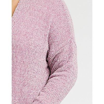 Plus Size Chenille Open Front Cardigan