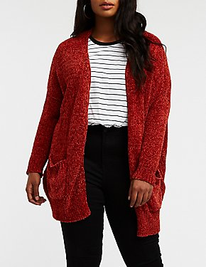 Plus Size Chenille Open Front Cardigan