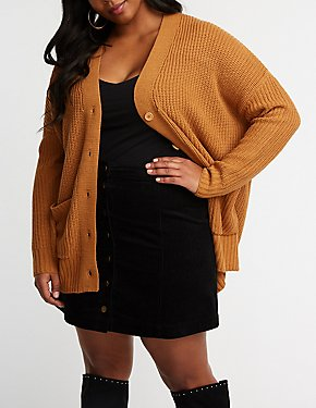 Plus Size Longline Button Up Cardigan