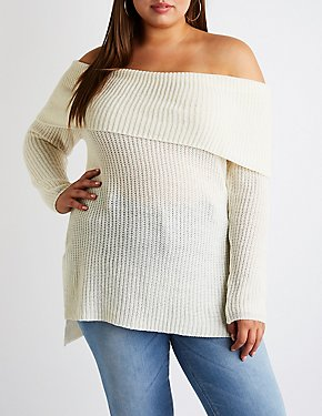 Plus Size Off The Shoulder Pullover Sweater
