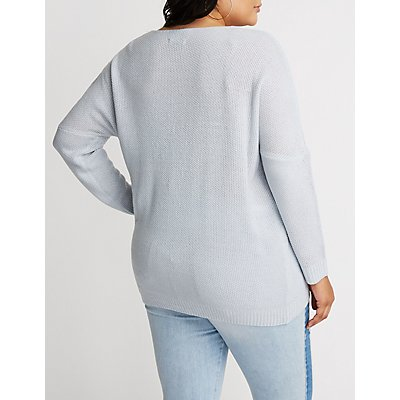 Plus Size V Neck Sweatshirt