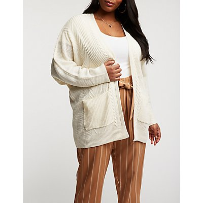 Plus Size Cable Knit Open Front Cardigan Read