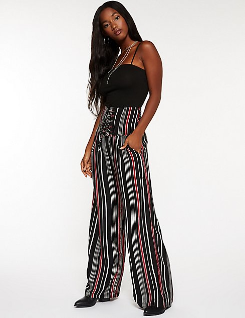 Striped Lace Up Palazzo Pants | Charlotte Russe