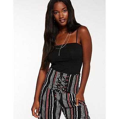 Striped Lace Up Palazzo Pants