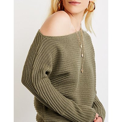 Off The Shoulder Pullover Sweater