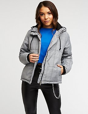 Windowpane Puffer Jacket